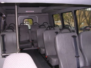 Inside shot from the van, showing the seats as would be seen while boarding.