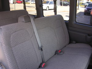 Close up shot of the seat material in the passenger vans.