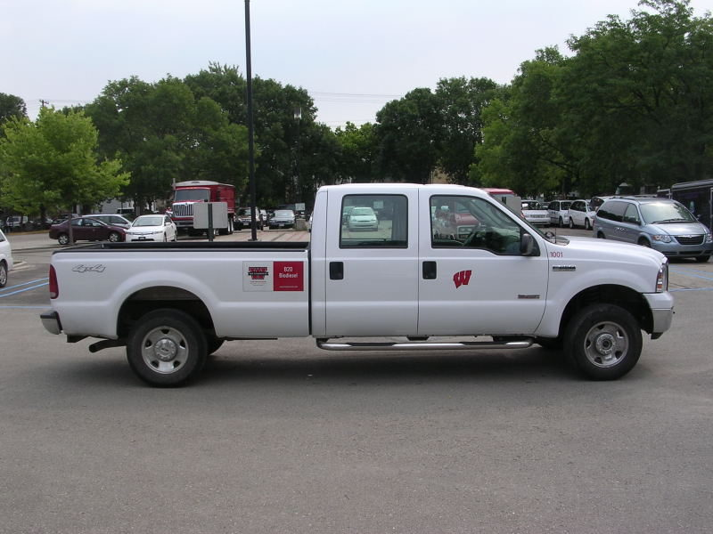 White truck, with UW decal.
