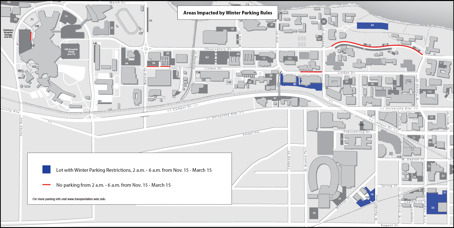 Areas of no parking or parking restrictions from Nov. 15 - March 15 are marked.
