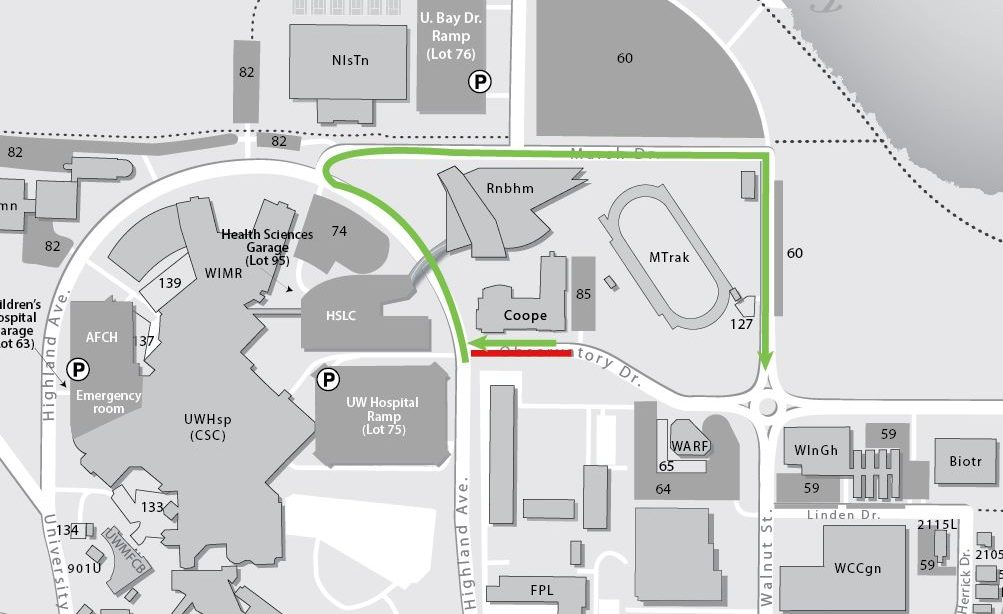 Short section of eastbound traffic closed on Observatory Drive between Highland Avenue and Cooper Hall driveway Lot 85). Westbound traffic will be open. Eastbound traffic--including Metro buses--will detour using Marsh Drive.